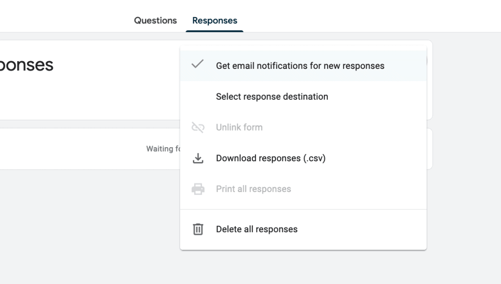 A screenshot showing where to turn on email notifications in Google Forms.